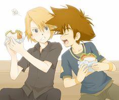 dont eat my sandiwtch XD tai/ taichi and matt/ yamato  digimon adventure .. ... .... BL yaoi ><