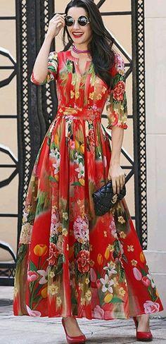 All Dresses Chiffon Floral Print Waist Maxi Dress Casual Formal Dresses, Trendy Dresses, Women's Fashion Dresses, Summer Dresses, Fashion Clothes, Komplette Outfits, Chiffon Maxi Dress, Floral Print Maxi Dress, Tiered Dress