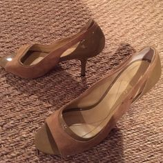 Kate spade tan peep toe heels Kate spade tan suede and patent leather peep toe heels- 3 inches kate spade Shoes Heels