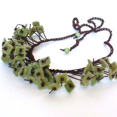 winter accessories, wool felt, felt necklac, bead, crochet necklace, oliv, felted wool, bib necklaces, felt jewelri
