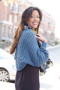 Cuffed Dolman Shrug FREE knitting pattern designed by Lorna Miser ||| Caron International