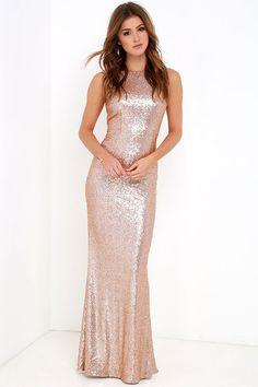 ca26fc86f5f Slink and Wink Matte Rose Gold Sequin Maxi Dress