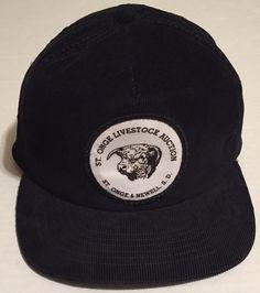 Vtg St Ogne Livestock Auction Strapback Hat Black Newell SD South Dakota 41b5877ef