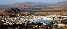 Pushkar City and Lake at the Center of the City.  Famous for Camel Festival