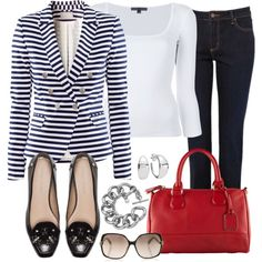 """Striped Jacket Trend"" by fiftynotfrumpy on Polyvore"