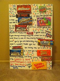 Cute & cheap 3 year anniversary present for my boyfriend <3 #candyposter