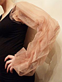 Fabric Manipulation for fashion - organza sleeve with decorative textures & patterns through pleating - creative garment design; 3D textiles // Vilune Daunoraite