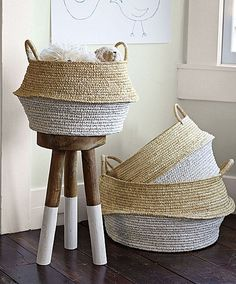 Shabby Chic Dip-Dyed Stool + Round Belly Baskets ~❥ love!