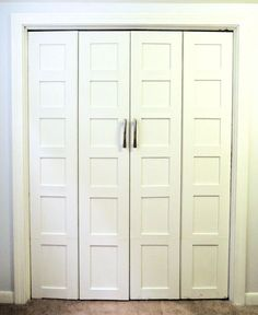 Bi-Fold Closet Door Facelift if you can do this ...you can do board and batten to match mudroom