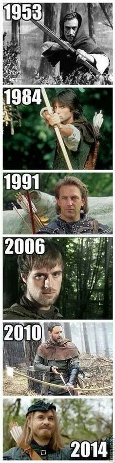 Robin Hood through the years. The last one is from Doctor Who. :)