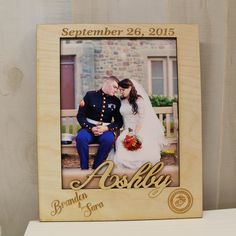 Personalized Names Mr & Mrs Picture Frame Wedding Gift or Newlywed Couple Custom Marines Engraved Wooden Frame with Last Name Date – framepicture Wedding Gifts For Newlyweds, Newlywed Gifts, Wedding Picture Frames, Wedding Frames, Wedding Ideas, Frame Layout, Reception Signs, Rustic Wedding Signs, Custom Engraving