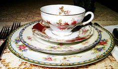 The lovely flowers on these four china patterns compliment each other beautifully. - Southern Vintage Table