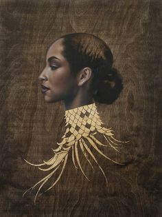"Sade 'In another time' by Sara Golish Oil & gold leaf on wood panel 18"" x 24"" www.saragolish.com"