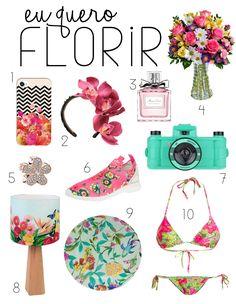 A Primavera chegou e eu fiz uma wishlist cheia de cores e flores pra inspirar! Tem tênis, câmera lomo, prato, bíquini, abajur, flores e mais flores....<3