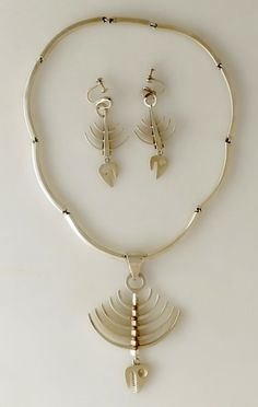 "Earrings & Necklace | Los Castillo.  ""Skeletal Fish""  Sterling silver.  ca. 1963."