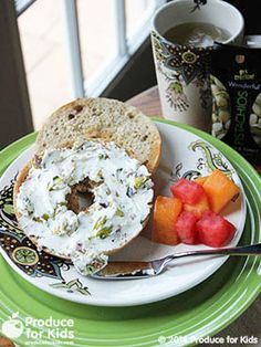 Bagel & Pistachio-Cheese: Add some crunch and healthy fats to your morning bagel by adding chopped pistachios!