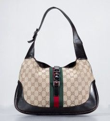 Gucci Monogram GG Beige Ebony Jackie O Classic Striped Hobo