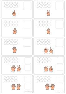 Telposter werkblad (tellen van vingers+1-1 relatie+getalbeelden)