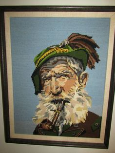 Vintage Captain Needle Point Tapestry Wall Art