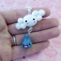 Heureux de nuage et pluie goutte polymère argile porte-clé breloque Kawaii blanc bleu Figurine Miniature unique cadeau par MyWillies sur Etsy https://www.etsy.com/fr/listing/243844483/heureux-de-nuage-et-pluie-goutte