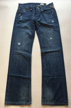 Mens Replay Jeans  31 x  34 Doc Classic Fit Straight Distressed New Authentic
