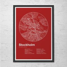 Street Map Art City Print - Stockholm, Sweden - Minimalist Map of Stockholm Poster Infographic Swiss Style Helvetica Modernist Print