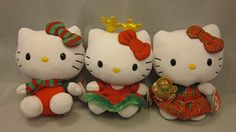 Sanrio Hello Kitty Set of 3 Christmas Ty Beanie Babies Stuffed Animals Gingerbread Man, Reindeer Ears, Striped Scarf and Bow