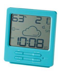 IDEA LABEL ウェザー電波LCDアラームクロック SQ (Blue) ¥3,500(税抜)