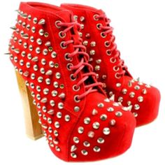 SALE - Bold Red Spiked and Studded Lace Up Platform Booties ($115) ❤ liked on Polyvore featuring shoes, boots, ankle booties, heels, chaussure, sapatos, high heel boots, flat lace up booties, platform heel boots and lace up platform booties
