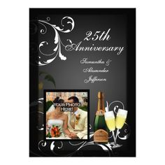 See MoreBlack and White Silver Champagne Photo Anniversary Personalized Invitationonline after you search a lot for where to buy