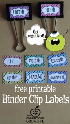 Every classroom needs these printable binder clip labels...and best of all they're free!