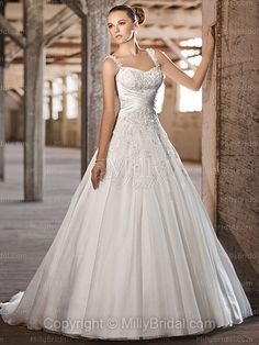 wedding dresses with straps or sleeves | ... Spaghetti Straps Organza Satin Floor-length White Lace Wedding Dresses