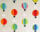 Garland-Hot Air Balloons & Clouds-3D-Crib Mobile-Baby-Nursery Decor-Kids Room-Children-Bright Colors-Baby Shower-Unisex baby-Birthday-Party
