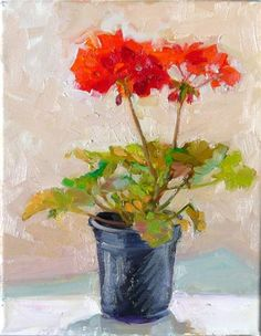 'April Geranium' by Joy Olney Acrylic Painting Flowers, Plant Painting, Flower Paintings, Ad Art, Arte Floral, Watercolor Bird, Summer Flowers, Fine Art Gallery, Art For Sale