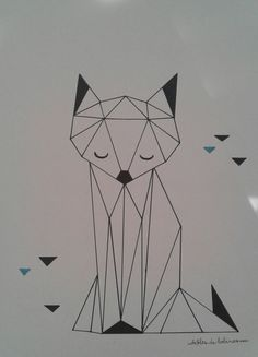 Frame with Origami drawing - Animal of your choice Origami Tattoo, Diy Tattoo, Origami Box, Origami Stars, Origami Easy, Origami Bookmark, Origami Tutorial, Origami Design, Art Drawings Sketches