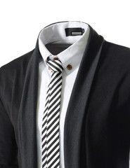 Slim Fit 2 Tone Shawl Long Cardigan JGA23-black