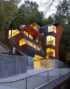 Interesting #architecture and #design > New residence designed and built by Fred Herring from Herring and Worley Inc. This #Woodside, CA #house was built on the most challenging hillside.