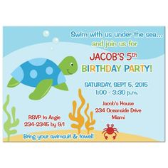 Sea Turtle And Crab Under The Birthday Invitation