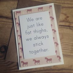 Best friend card, sister card, mother card, funny greeting card, fat girl jokes, blank greeting card, cheer up card