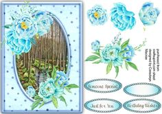 LovelyAqua Roses and Scene  by Ceredwyn Macrae A beautiful card with Beautiful Aqua Roses and Scene has three greeting tags and a blank one