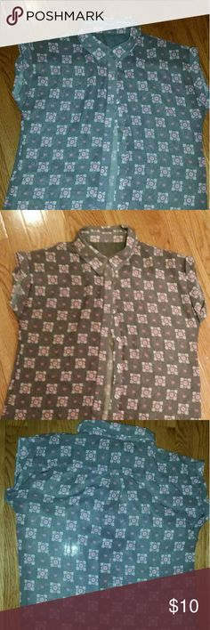 Companion cube button up, portal, gamer, kawaii Fits a size small loosely, a little see through, great for a portal fan! Hardly worn, great condition! welovefine Tops Blouses