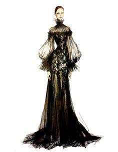 Fashion Sketch: Black gown / 2012 Alexander McQueen