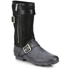 Burberry Clardon Mid-Calf Rubber Moto Boots