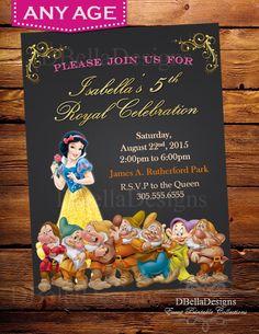 Disney Princess Birthday Invitation-Snow White and the Seven Dwarfs Chalkboard Invite Printable-Girl 1st Birthday Party-Royal Decor by ABCpartystudio on Etsy https://www.etsy.com/listing/246222752/disney-princess-birthday-invitation-snow