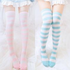 Sweet students stripe stockings