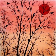 CHIRPY SILHOUETTE AT DUSK Painting by Yong-Shing Sin $560 Width (cm): 30, Height (cm): 30 Birds meeting in the evening time after their hard days work in the fields. The result would surely be a very noisy congregation up in the trees at dusk. https://artsmiley.com/product/chirpy-silhouette-at-dusk/ #BuyPrintRentArt #Paintings #Animals #NatureAnimals #MulticolorArts #AcrylicOnStretchedCanvas  #art #artworks #artist #artforsale #originalartforsale #artgallery #artstudio #artsmiley #artlover…