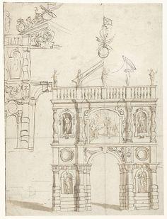 Theodoor van Thulden   Ontwerp voor een ereboog voor aartshertog Leopold Willem, Theodoor van Thulden, Erasmus Quellinus (II), 1646 - 1648   Ontwerp voor een triomfboog.