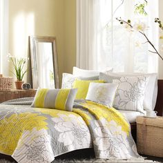 Home Essence Jane 6 Piece Cotton Quilted Coverlet Set, Yellow Bed Sets, Gray Bedroom, Bedroom Decor, Bedroom Curtains, Bedroom Ideas, Bedroom Yellow, Bedroom 2018, Bedroom Wall, Bedroom Images