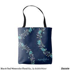 Blue & Teal Watercolor Floral Carryall/ Tote Bag