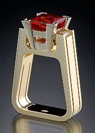 Ring | Robert Trisko. 14kt yellow gold,  Ruby and two diamond baguettes